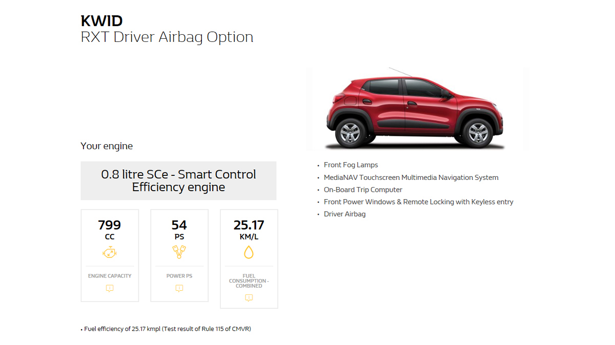 Kwid specification